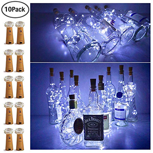 15 LED Bottle Cork String Lights Wine Bottle Fairy Mini String Lights Silver Copper Wire, Battery Operated Starry Lights for DIY Christmas Halloween Wedding Party Indoor Outdoor, 10 Pack (Cool White)