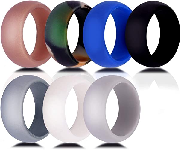 Silicone Wedding Ring for Men and Women,7 Packs Comfortable Fit 2.5 mm Thickness,from The Latest Artist Design Innovations to Leading Edge Comfort 8.7mm Wide