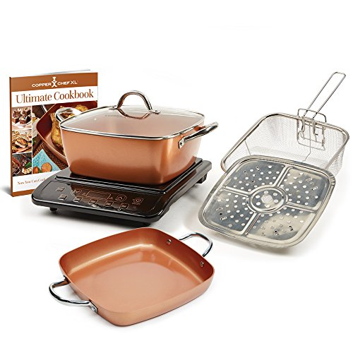 Copper Chef XL Plus Shallow Casserole Pan with Induction Cooktop (Black)