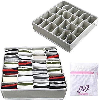 4 Paquetes Textil Plegables Organizadores Caj/ón Divisores Sujetador Calcetines para Almacenamiento Y Organizaci/ón De Ropa Interior