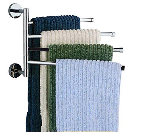 Swivel Towel Bar Stainless Steel 4-Bar Folding Arm Swivel Hanger Bathroom Storage Organizer Wall Mount Towel Rack by Jeffirm
