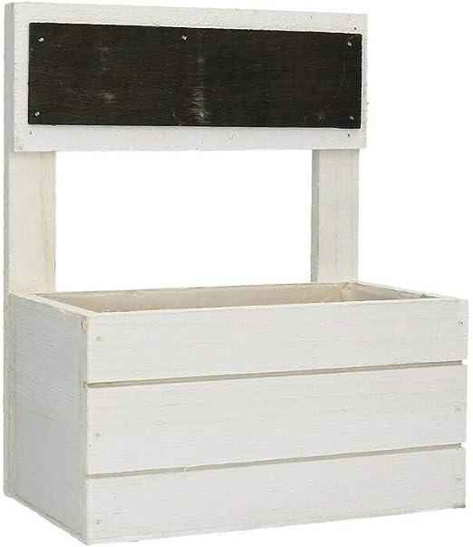 AmaCasa Caja de Madera Blanca con Pizarra – 16 x 10 x 8 cm/20 cm decoración Almacenamiento Shabby-Chic: Amazon.es: Juguetes y juegos