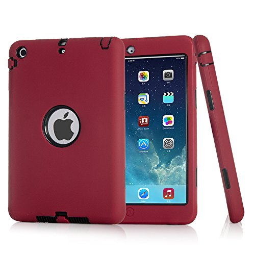 iPad mini Case, iPad mini 2 Case, iPad mini 3 Case, iPad mini Retina Case, Easytop 3in1 Anti-slip Hybrid Protective Heavy Duty Rugged Shockproof Resistance Cover for iPad Mini 1/2/3 (Red + Black)