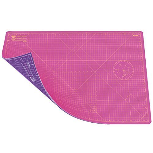 Cutting Mat, Self Healing, Hobby Cutting Mat, Sewing Cutting Mat, Double Sided 5 Layers Eco Friendly Cutting Mat Imperial/Metric 34 inch x 22.5 Inch/89 cm x 59 cm A1- Super Pink/Royal Purple ANSIO