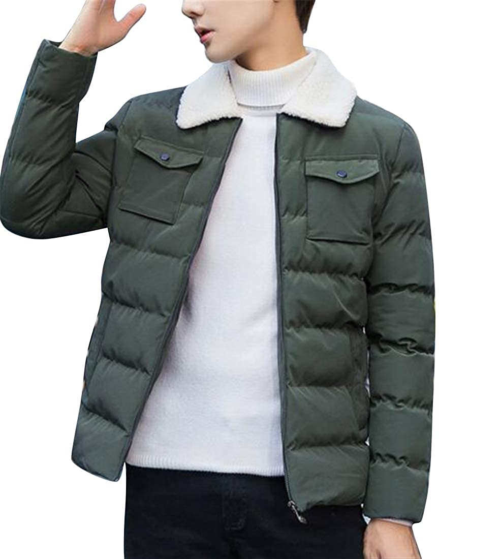 YYG Mens Winter Thermal Slim Fit Pure Color Lapel Neck Down Quilted Puffer Jacket Coat Outerwear