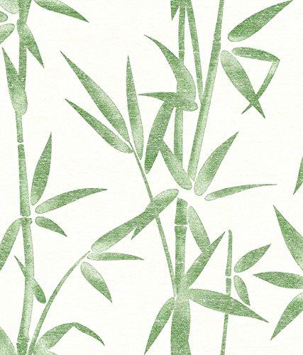 Brewster 2766-003534 Catasetum Green Bamboo Wallpaper