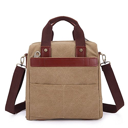 Khaki Casual Canvas Messenger Shopping Shoulder Bag Khaki Zipper color Men's Waterproof Briefcase gxwqWw1UfC