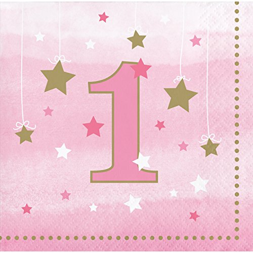 One Little Star Girl 1st Birthday Beverage Napkins, 48 ct