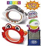 Matty's Toy Stop Aquaflow Mini Fun Masks (Swim Goggles) Shark & Crab Gift Set Bundle with Bonus 16'' Beach Ball & Storage Bag - 2 Pack