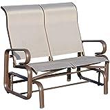 Outsunny Aluminum Outdoor Double Glider Rocking Bench% Durable Garden - Grey