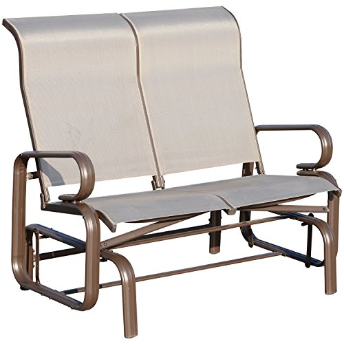 Outsunny Aluminum Sling Fabric Outdoor Double Glider Rocking Chair Bench - Grey
