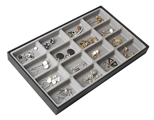 JackCubeDesign 16 Compartments Stackable Leather Jewelry Tray Earring Necklace Bracelet Ring Organizer Display Storage Box(Set of 1, Black, 16 x 9.6 x 1.6 inches)-MK212-1D