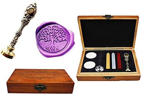(MNYR Vintage Tree of Life Nature Decorative Luxury Wood Box Silver Metal Peacock Wedding Invitations Gift Cards Paper Stationary Envelope Custom Wax Seal Sealing Stamp Sticks Melting Spoon Box)