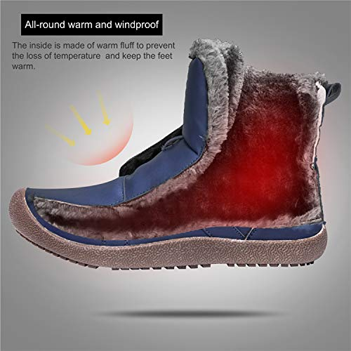 Snow 8 5 L Boots Winter Shoes RUN US Lined Snow Womens Fur M Booties Navy Outdoor qq7EwnOr