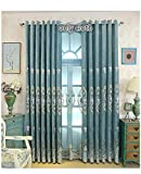 TIYANA Room Darkening Curtain 84 inch Long for Living Room European Design Elegant Delicate Floral Embroidery Soft Chenille Blackout Curtain Drape Panel Custom Metal Grommet Top 1 Piece 114×84 inch For Sale