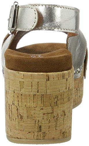 con Platau Shoe para Cuña Sandalias Sandal Biz Mujer Silver Velvet Plateado xIqq7S