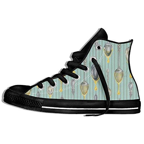 Classiche Sneakers Alte Scarpe Di Tela Antiscivolo Modello Cucchiaio Casual Da Passeggio Per Uomo Donna Nero