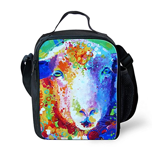 Fashion Cute Sheep Printed Lunch Tote Bag Food Bag Lunch Boxes - Oil Painting Pattern
