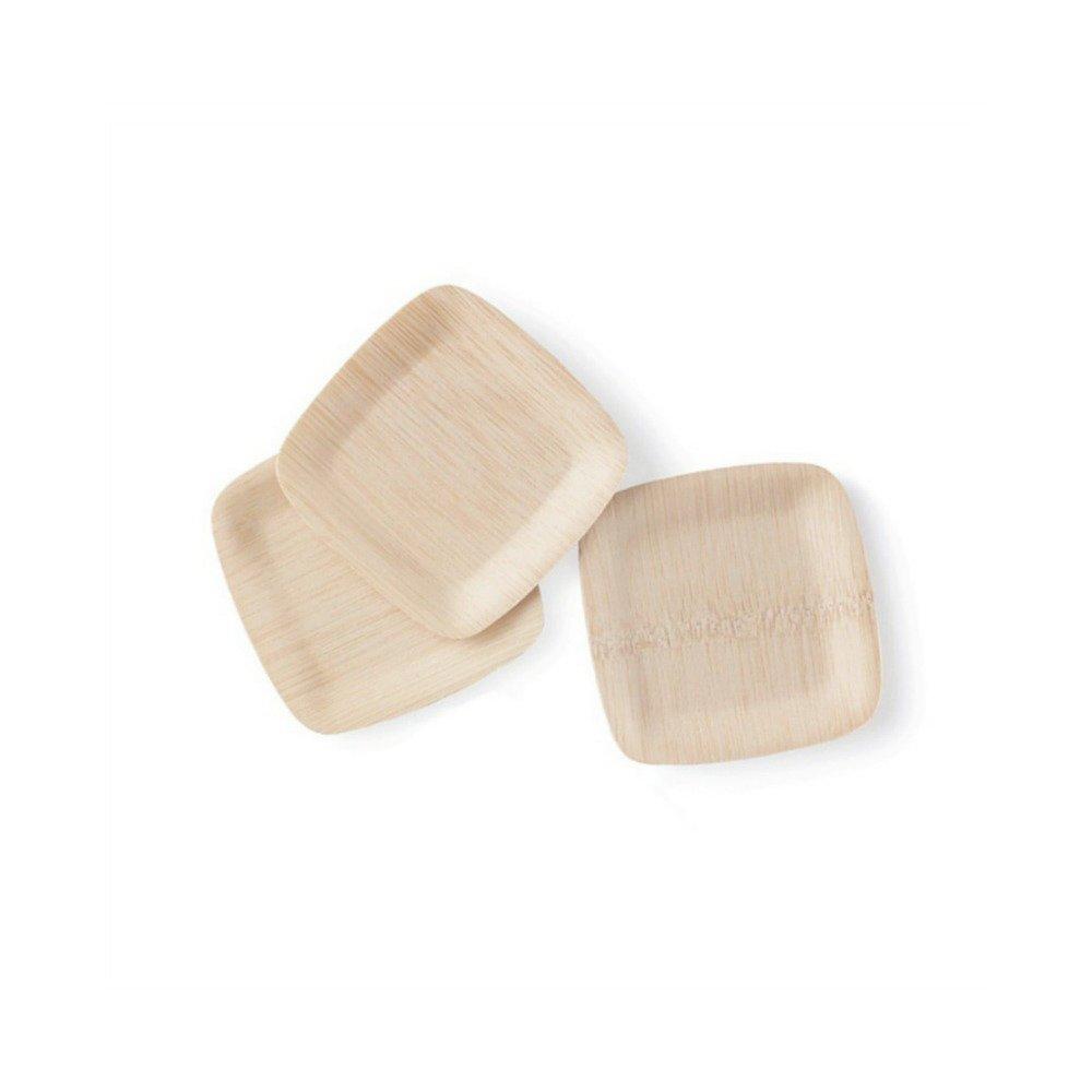 bambu 5'' Square Veneerware Bamboo Plates, 25-Pack