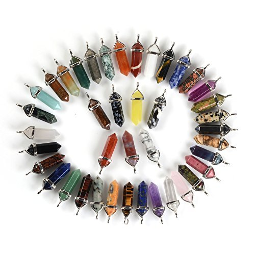 - 24pcs All Natural Semi-precious Gemstone Crystal Healing Hexagonal Point Pendant Bead