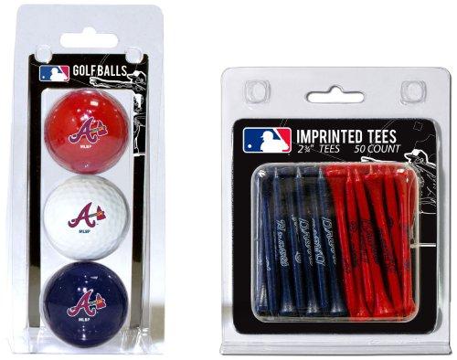 MLB Atlanta Braves 3 Golf Balls And 50 Golf Tees