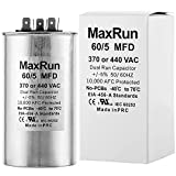 MAXRUN 60+5 MFD uf 370 or 440 Volt VAC Round Motor Dual Run Capacitor for AC Air Conditioner Condenser - 55/5 uf MFD 440V Straight Cool or Heat Pump - Will Run AC Motor and Fan - 1 Year Warranty