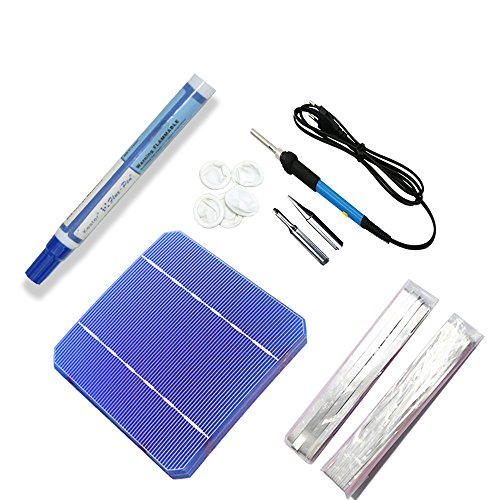 Shierleng 40pcs 5x5 Solar Mono Cell, Welding Kit 60w Electric Iron, 2 Meters Bus Wire, 20 Meters Tab Wire, Flux Pen, Finger Cots for DIY Kit Solar Panel (Cot Panel)