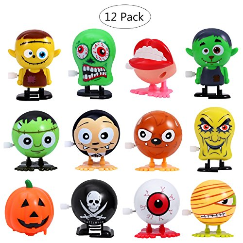 BESTOYARD Jumping Wind Up Toy Halloween Goody Bag Wind Up Toys Assorted Mini Toy Preschool Toy For Kids Gift Pack 12PCS
