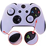 Pandaren Soft Silicone Thicker Skin Cover for Xbox One Controller Set (White skin X 1 + Thumb Grip X 2)