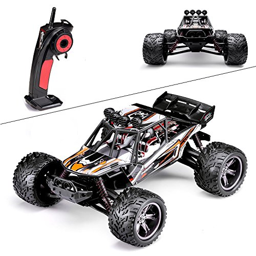 Hosim RC Truck 9123, 1/12 Scale Radio Controlled Electric Fast Racing Car – High Speed 38km/h Offroad 2.4Ghz 2WD Radio Controlled Monster Truck Truggy – Best Gift for all Car Enthusiast (Orange)