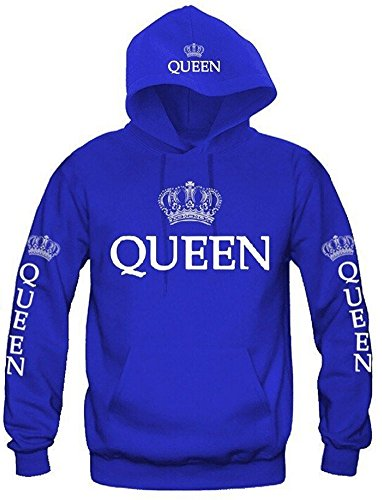 Couple Hoodies King & Queen Matching Couple Sweatshirt with Cat Pouch with Hood (Label L/US 8, A. Women Blue) by Faithtur