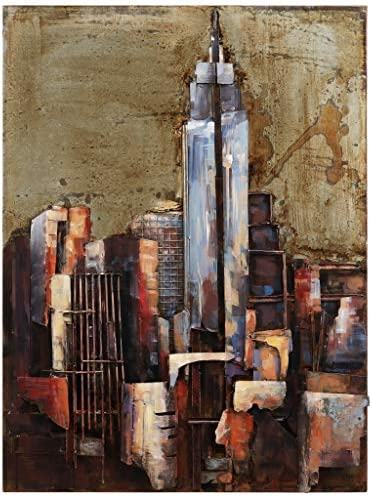 Empire Art Direct The Empire State Building Mixed Media Iron Hand Painted Dimensional Wall Art