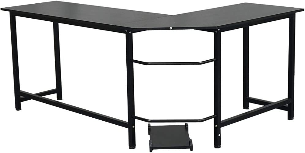 Zebery L-Shaped Desktop Computer Desk Black