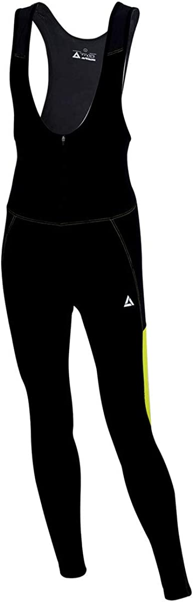 Airtracks Thermo Cycling Shorts Long with Suspenders Pro Line Cycling Bib Tights Long BIB Braces Padded 3D Coolmax Warm Breathable Reflectors