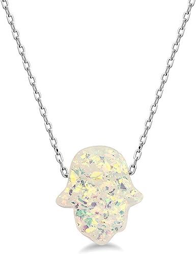 Hamsa Lab Blue Opal Pendant Necklace Fatima Hand Gold Filled Good Luck Charm