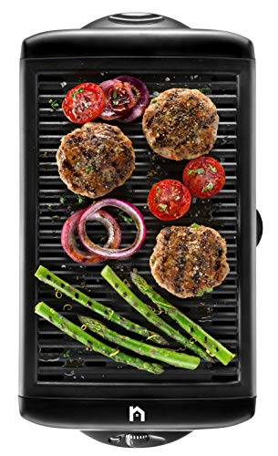 New House Kitchen Electric Smokeless Indoor Large BBQ Griddle w/Non-Stick Cooking Surface Temperature Control, Dishwasher Safe Removable Drip Tray, Portable Kitchen-Grill, - Electric New Home Grill