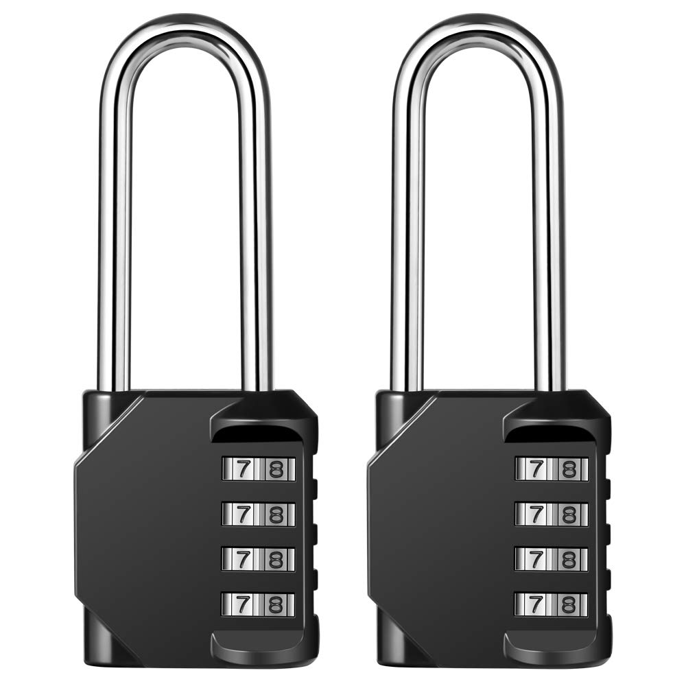 Disecu 4 Digit Combination Lock 2.5 Inch Long Shackle and Outdoor Waterproof Resettable Padlock for Gym Locker, Hasp Cabinet, Gate, Fence, Toolbox (Black,Pack of 2)