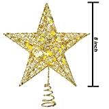 Resinta Metal Glittered Christmas Tree Topper Hallow Wire Star Topper for Christmas Tree Ornament (Gold)