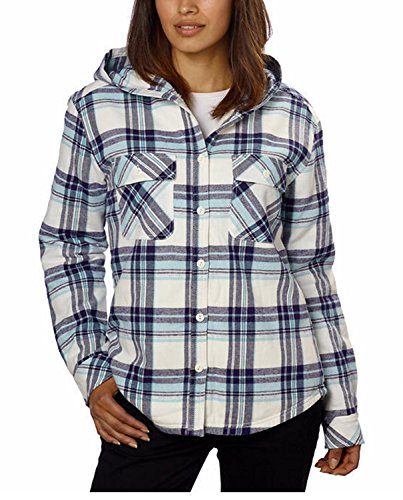 Boston Traders Women's Hooded Flannel Jacket Shirt with Fleece Lining (Small, Light Blue)