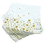150 Pack Napkins White with Gold Stars Cocktail Napkins for Wedding, Party, Birthday, Dinner, Lunch, Napkins with 2 Layers, 5 by 5 Inches