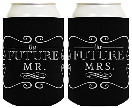 Bridal Shower Gifts Future Mr & Mrs Wedding Gift 2 Pack Can Coolie Drink Coolers Coolies Black