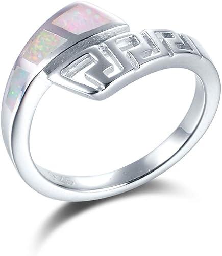 Lightsome Greek Key Latest 925 Silver Opal Finger Ring Designs Men