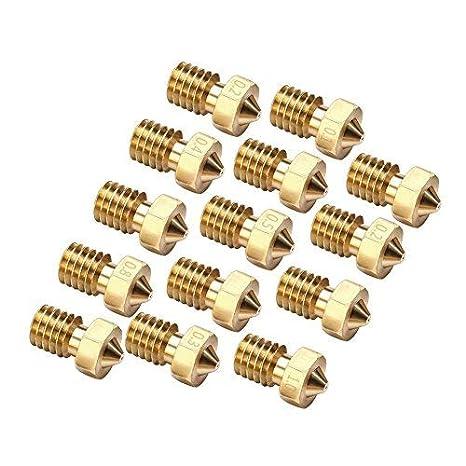 EAONE 14PCS M6 3D Printer 0.2mm 0.3mm 0.4mm 0.5mm 0.6mm 0.8mm 1.0mm Extruder Brass Nozzle Print Head for E3D Makerbot 2pcs//Each Size