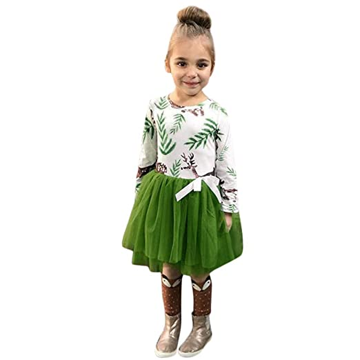 d4d7e7d078 Pulison Baby Girls Christmas Dresses Long Sleeve Long Sleeve Fawn Print  Dress Christmas Outfits Clothes (