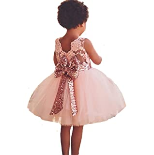 Kingko/® Toddler Baby Girls Heart Sequins Applique Lace Gowns Ball Flower Party Birthday Petals Wedding Bridesmaid Pageant Sleeveless Princess Dress Outfits Clothes for 0-4 Years Old