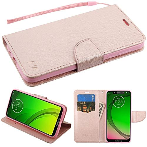 (Compatible with Motorola Moto G7 Power / G7 Supra Case, Premium PU Leather Flip Wallet Credit Card Cover Case, Stylus Pen, Screen Protector Accessories (Wallet Rose Gold))