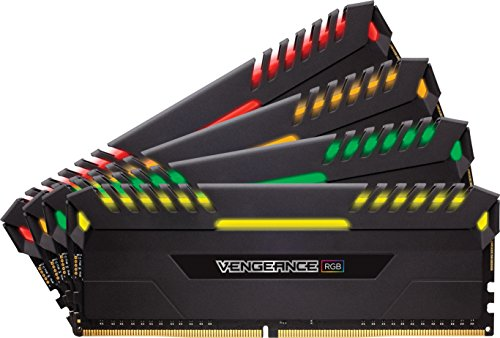 CORSAIR VENGEANCE RGB Series 32GB (4PK 8GB) 3.2GHz DDR4 Desktop Memory with RGB Lighting Black CMR32GX4M4C3200C16