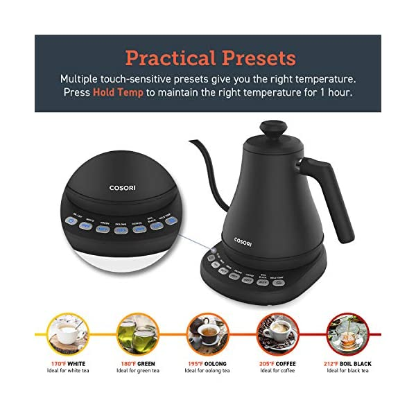 COSORI Electric Gooseneck Kettle with 5