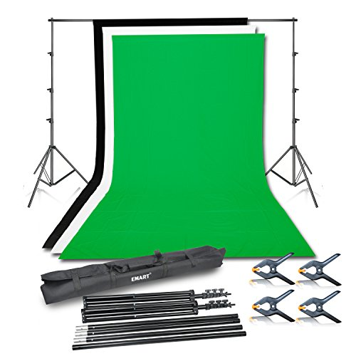 - Emart Photo Video Studio Background Backdrop Stand Kit, 8.5x10ft Photography Support System with 3 Muslin Backdrops 100% Cotton (Black White Green)
