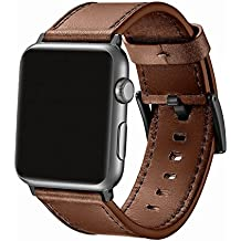 SWAWS Apple Watch Band 42mm Genuine Leather iWatch Strap Replacement Bands with Stainless Metal Clasp for Apple Watch Series 3 Series 2 Series 1 Sport and Edition Men Women Dark Brown